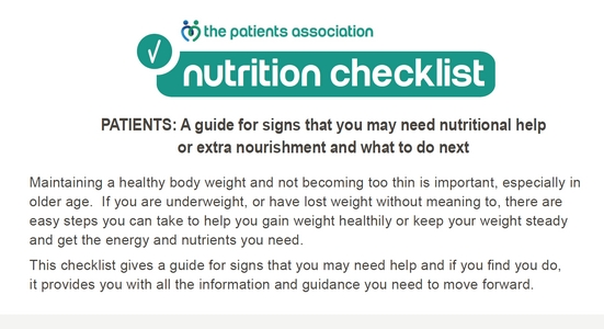 Patients Association Nutrition Checklist